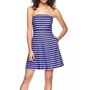 GAP Striped Strapless Dress with Pockets Blue 2